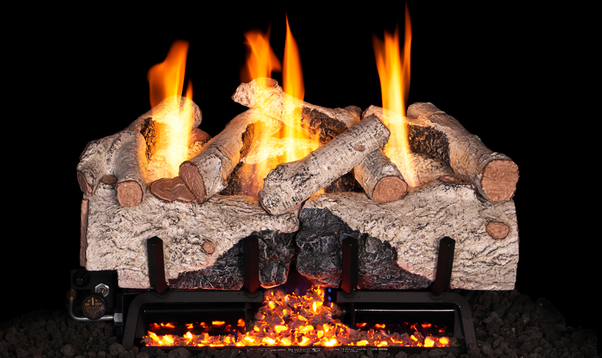 RH Peterson Real-Fyre Charred Alpine Birch Log Set and Vent Free G10 Burner - Choice of Size and Burner Valve