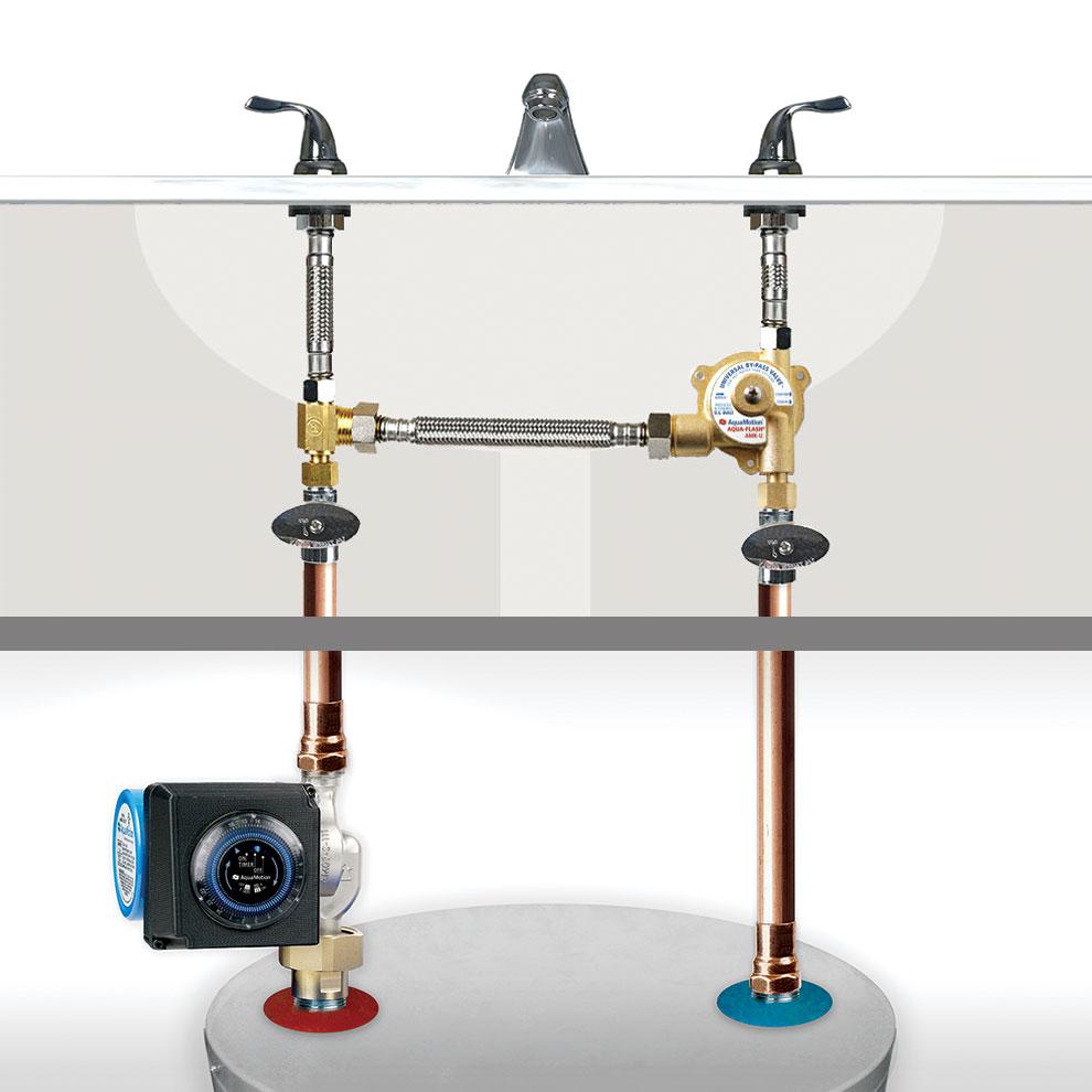 AquaMotion AMH1K-3UV AquaFlash Recirculation Pump Kit with Timer for Hot Water Tank Installation