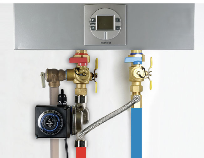 AquaMotion AMH1K-6ODRZT1 Hot Water Recirculation Pump with By-Pass Flow Control for Tankless Hot Water Heaters