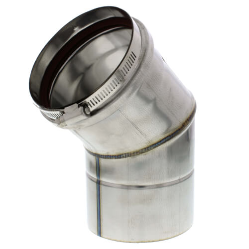 """4"""" Round 45° Elbow Vent Pipe Category III Stainless"""