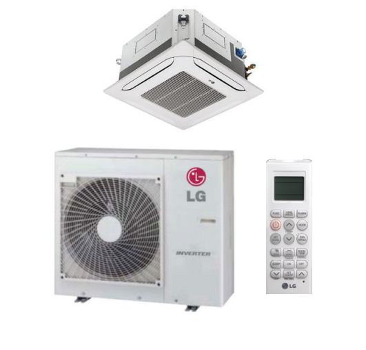 LG LC188HHV4 18000 BTU 4-Way Ceiling Cassette LGRed Single Zone System with Heat Pump, 230 Volt - Energy Star