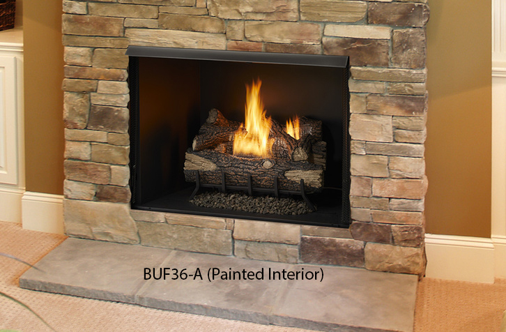 """Monessen BUF36-T 36"""" Vent-Free Exacta Firebox with Clean Face and Grey Stacked Brick Traditional Liner"""