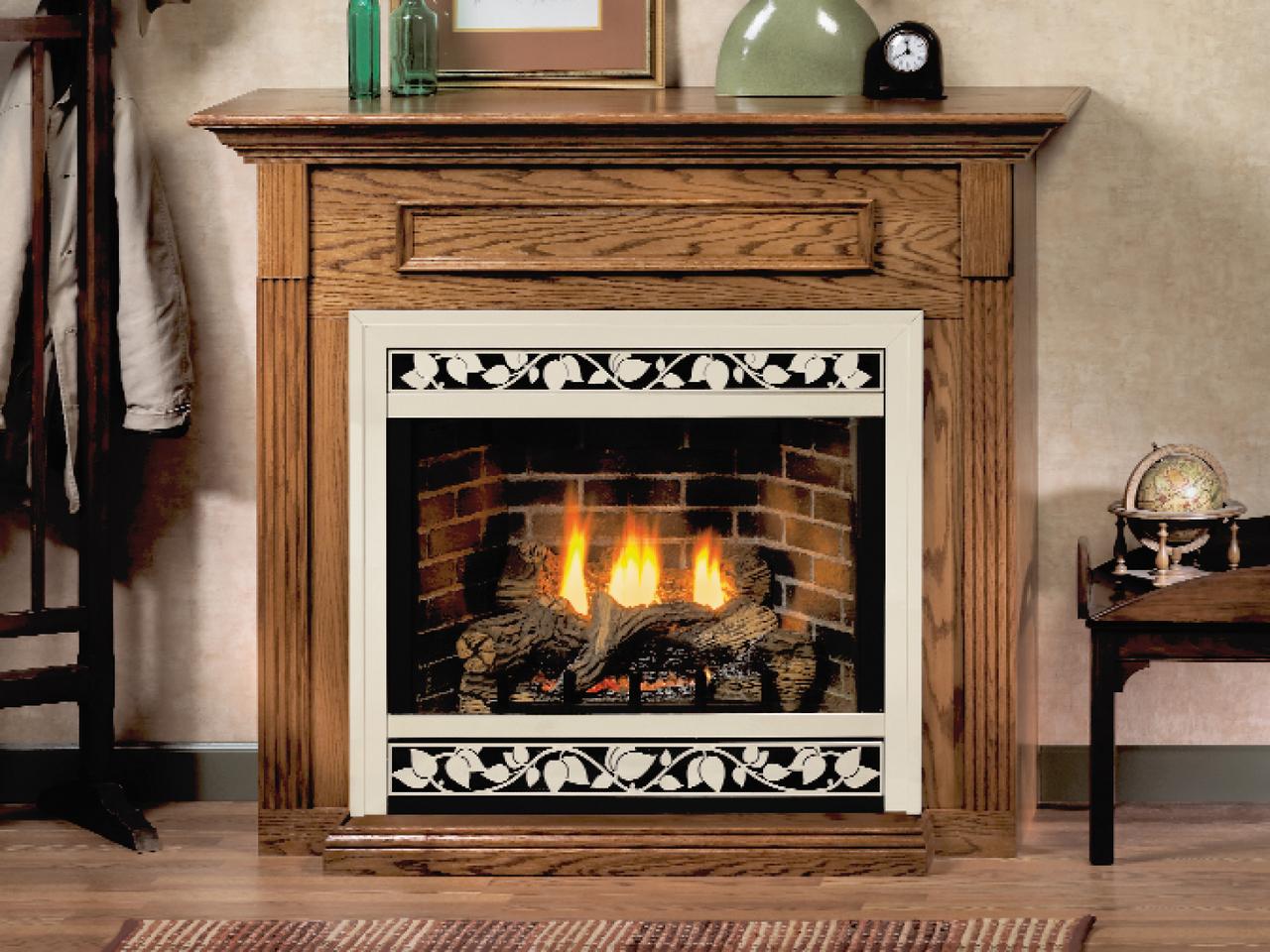"White Mountain Hearth EMBF1SW 32"" Standard Mantel in White - shown in dark oak"