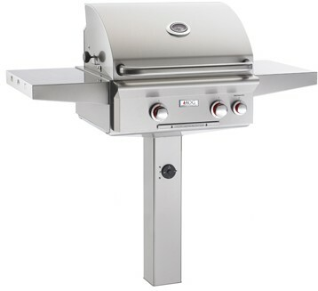 """American Outdoor Grill 24NGL 24"""" In-Ground Post Mount Natural Gas Grill with Rotisserie"""