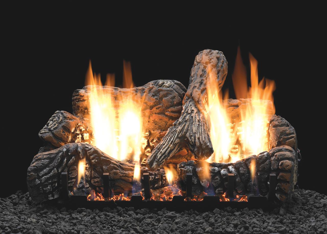 White Mountain Hearth Charred Oak Log Set - Choice of Vent Free Burner