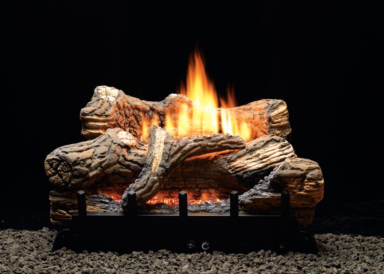White Mountain Hearth Flint Hill Vented/Vent Free Gas Log Set, Choice of Burner Valve