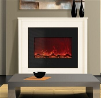 """Amantii ZECL-30-3226 30"""" Zero Clearance Electric Fireplace with Black Glass Surround"""