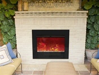 "Amantii ZECL303226-FLUSHMT 30"" Zero Clearance Electric Fireplace with Flushmount Black Glass Surround"