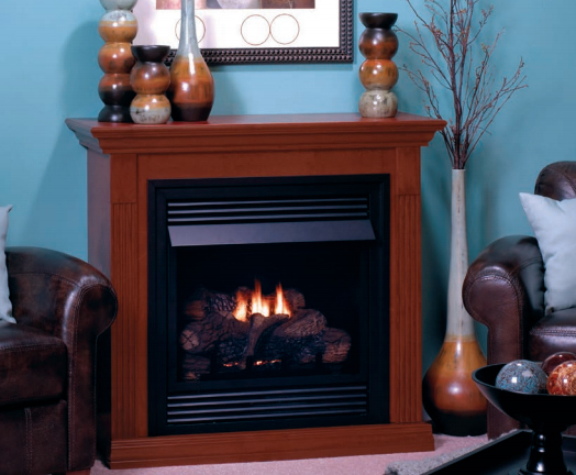"""White Mountain Hearth VFD26FM30 Vail 26"""" Special Edition Vent Free Fireplace System with Mantel in Cherry"""