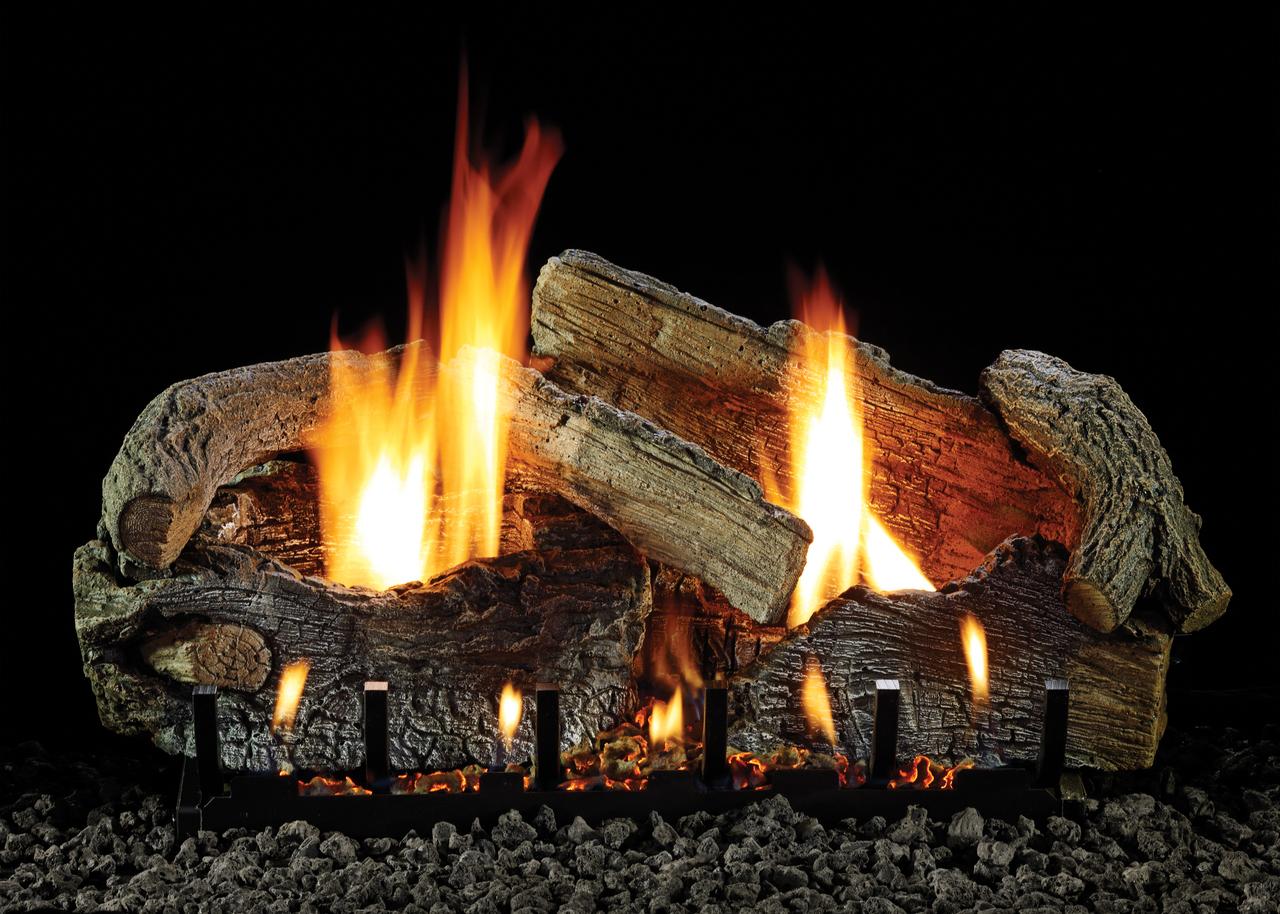 White Mountain Hearth Stacked Aged Oak Log Set - Choice of Vent Free Burner