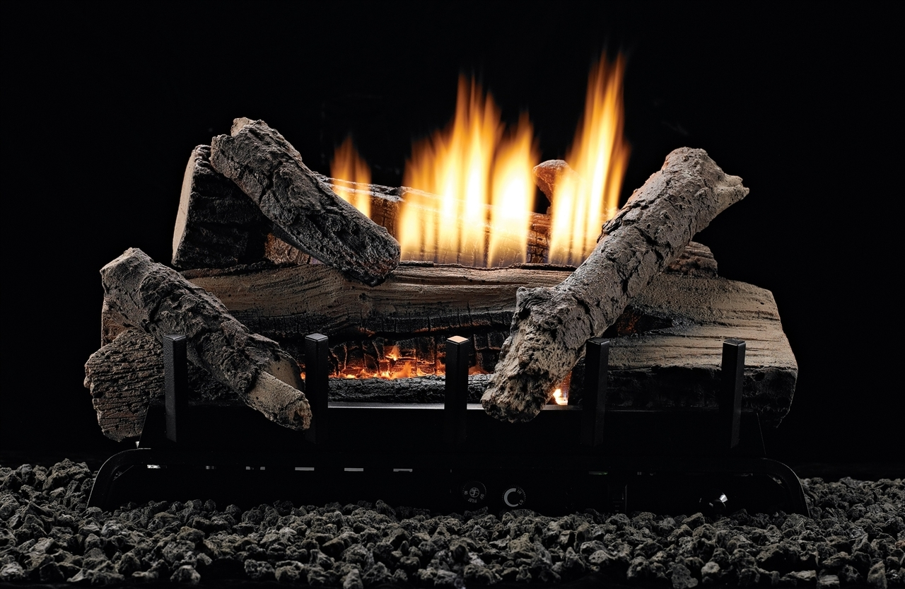 White Mountain Hearth Whiskey River Vented/Vent Free Gas Log Set, Choice of Burner Valve