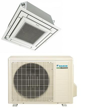 Daikin FFQ12QMVJU / RX12QMVJU 12000 BTU Vista Series Ceiling Cassette Heat Pump Single Zone System - Controller Required