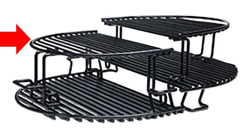Primo PRM332 Half-Moon Extended Cooking Rack for Oval 400 and Kamado Grills