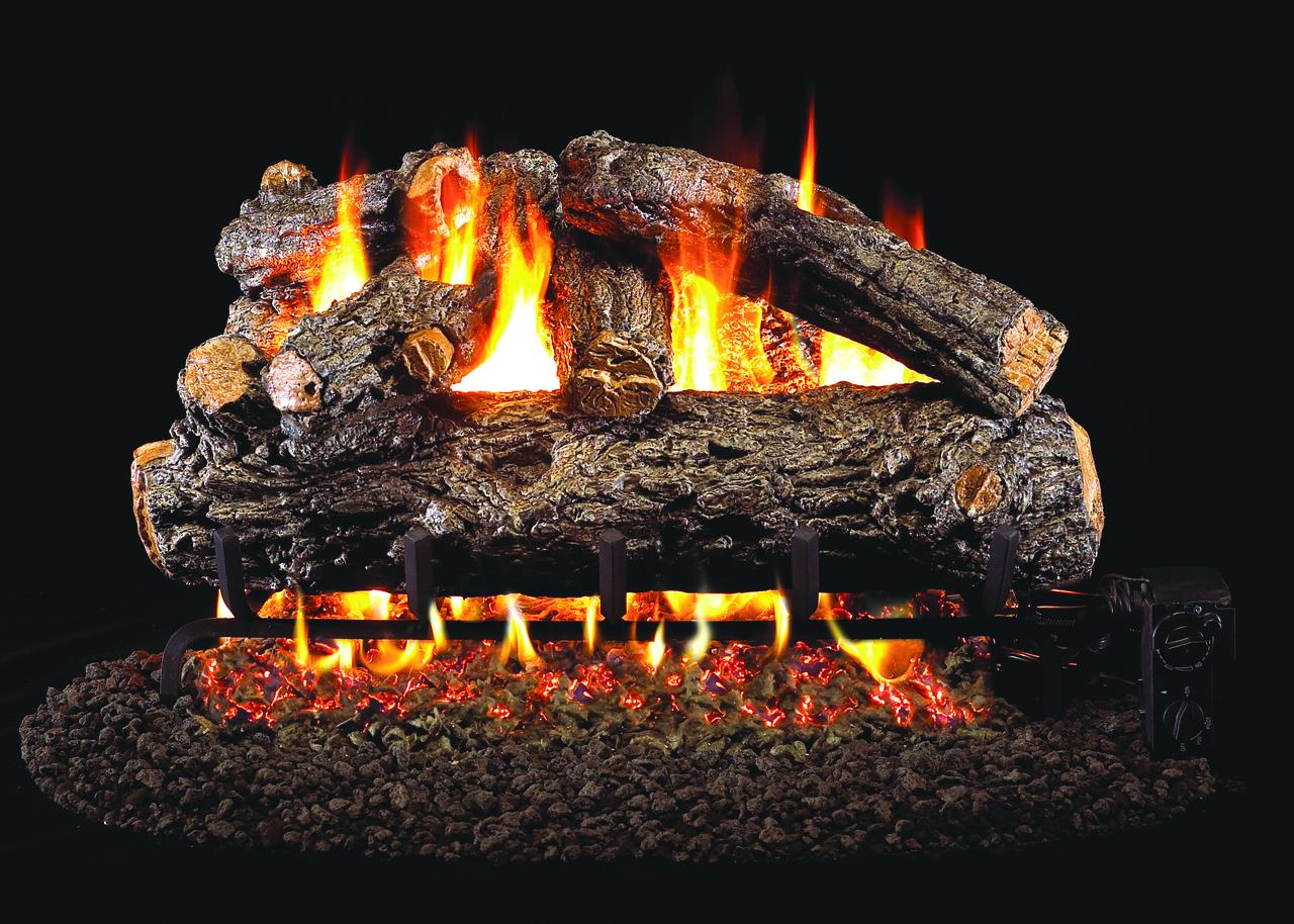 RH Peterson Real-Fyre Rustic Oak Designer Log Set - Choice of Vented Burner and Valve Kit