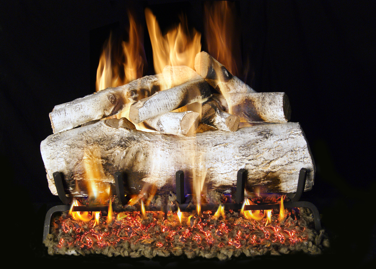 RH Peterson Real-Fyre Mountain Birch Designer Log Set - Choice of Vented Burner and Valve Kit