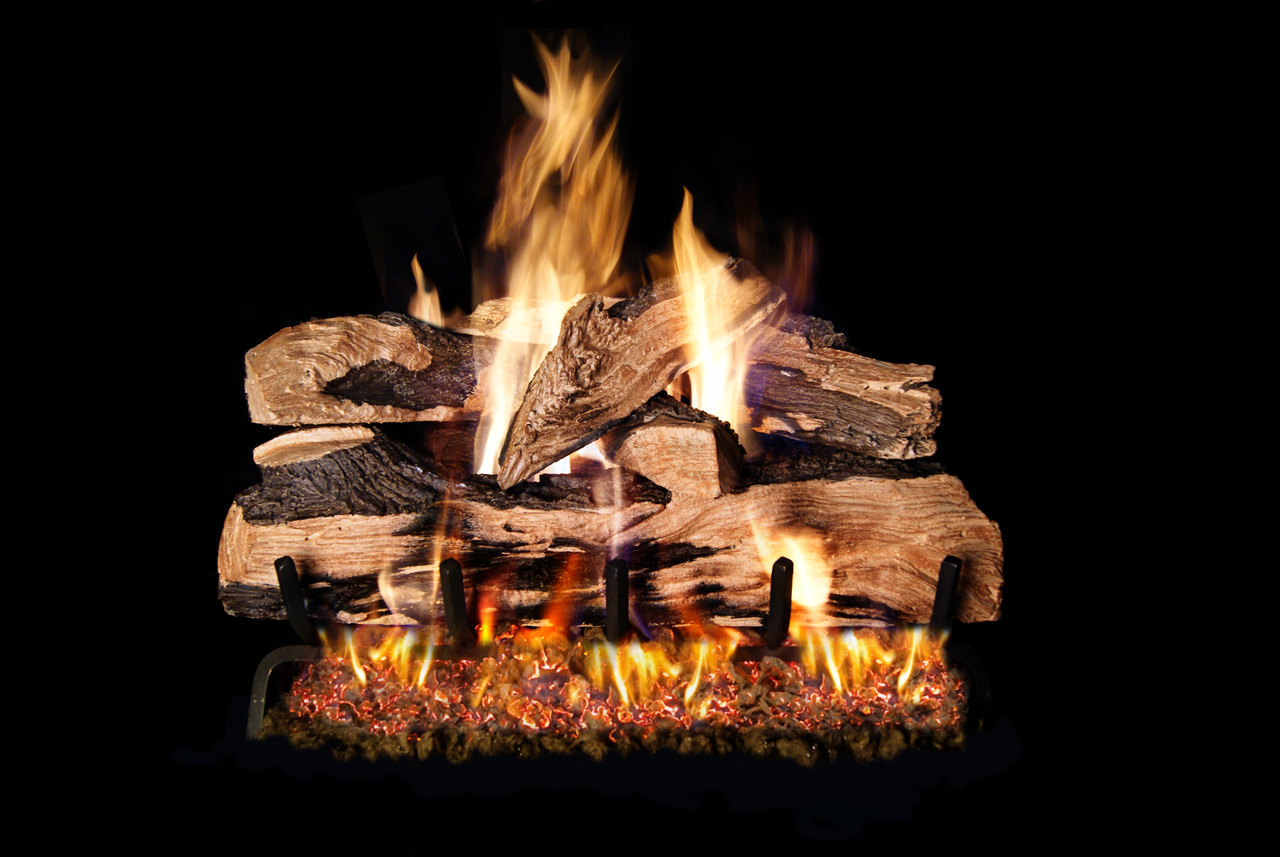 RH Peterson Real-Fyre Split Oak Designer Plus Log Set - Choice of Vented Burner and Valve Kit