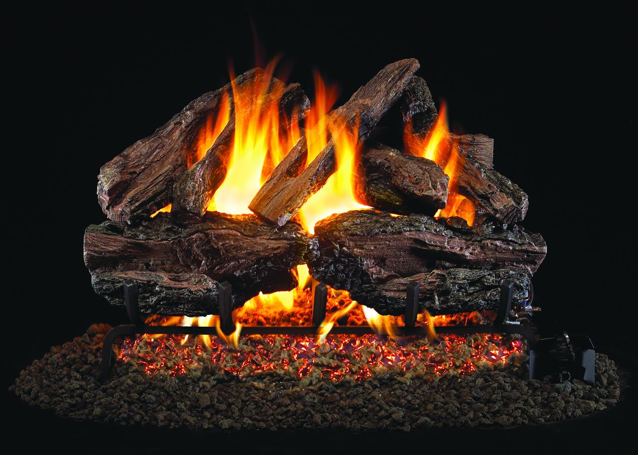 RH Peterson Real-Fyre Charred Red Oak Log Set - Choice of Vented Burner and Valve Kit