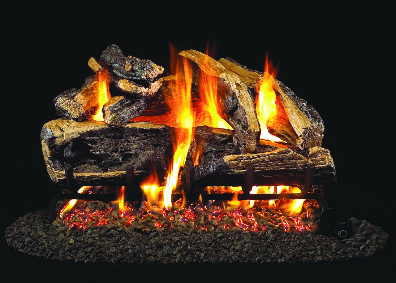 "RH Peterson Real-Fyre CHRRSO-24 24"" Charred Rugged Split Oak Vented Log Set"