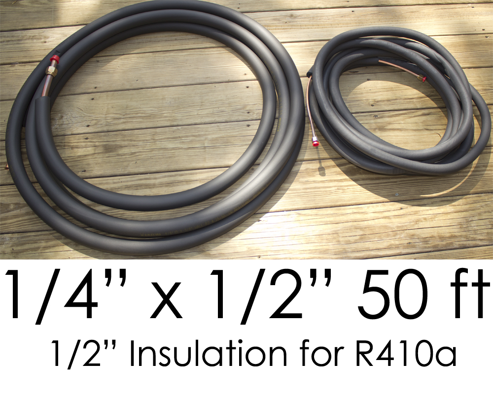 """THS141250 Line Set for Ductless Mini Split Air Conditioning Systems - 1/4"""" x 1/2"""" x 1/2"""" Insulation x 50'"""