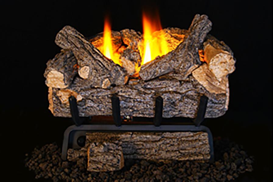 "RH Peterson Real-Fyre VOG8E-16RP 16"" Valley Oak Log Set and Vent Free Manual Burner - Liquid Propane - Bedroom Approved"