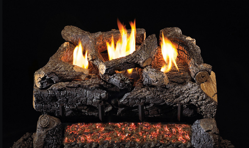 RH Peterson Real-Fyre Evening Fyre Charred Log Set and Vent Free Burner