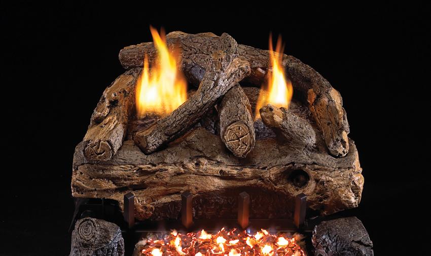 RH Peterson Real-Fyre Evening Fyre Split Log Set and Vent Free Burner