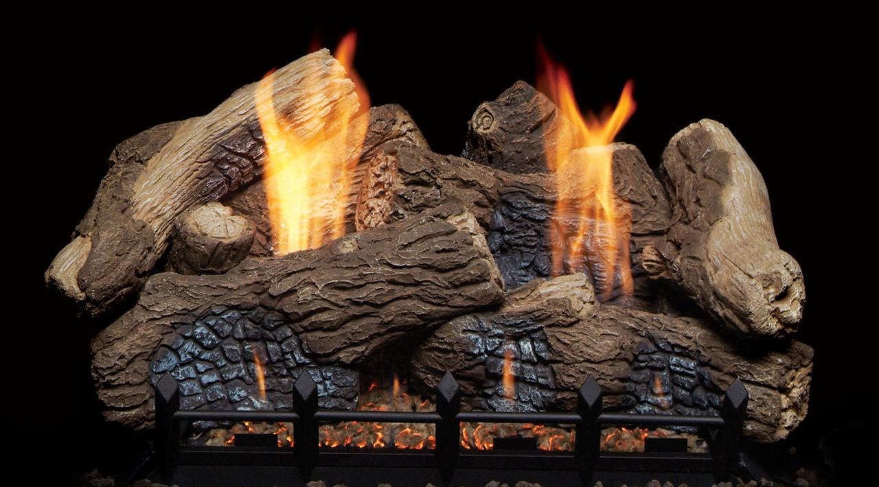 "Monessen BO24-F 24"" Berkley Oak Ceramic Fiber Log Set"