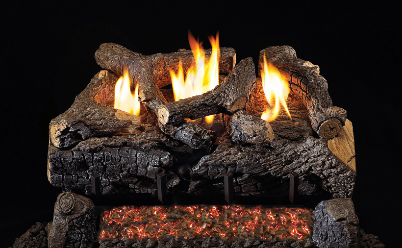 """RH Peterson Real-Fyre ECV30 30"""" Evening Fyre Charred Replacement Logs for G18 Vent-Free Burners (LOGS ONLY)"""