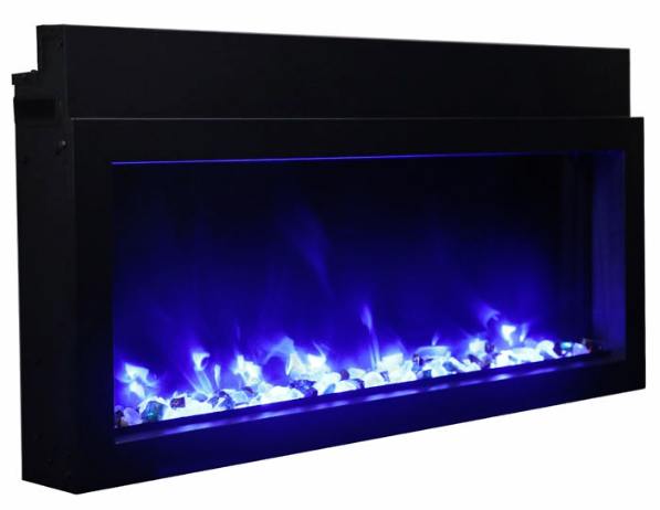 Amantii Panorama Extra Slim, Built-In, Indoor/Outdoor Electric Fireplace with Clear Media