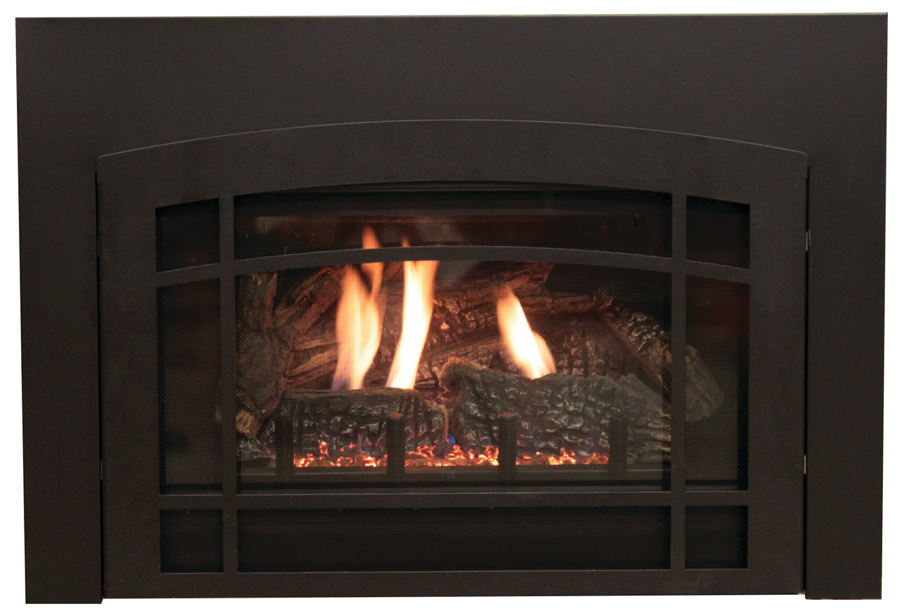 White Mountain Hearth DVF20HBL Lancaster Decorative Front for Small Innsbrook Direct Vent Insert - Matte Black