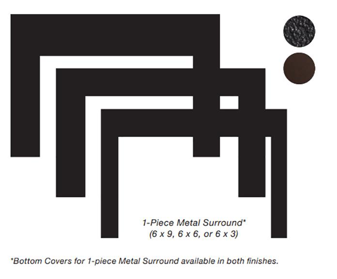 White Mountain Hearth DS2063BL 3 x 6 x 1 Surround for Small Innsbrook Direct Vent Insert - Matte Black