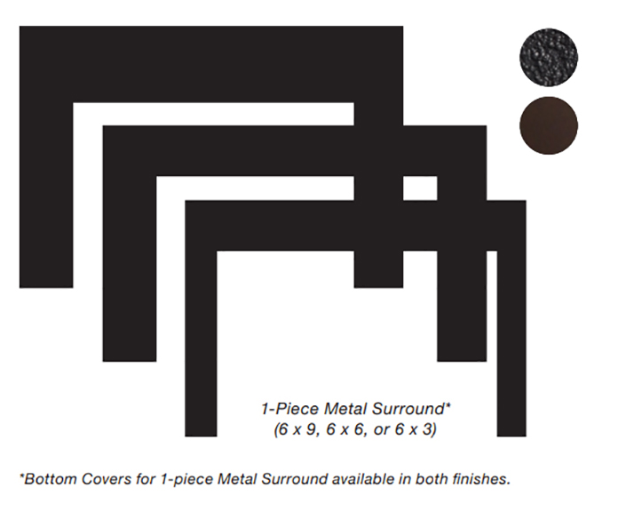 White Mountain Hearth DS2096DBL 9 x 6 x 2.25 Deep Surround for Small Innsbrook Direct Vent Insert - Matte Black
