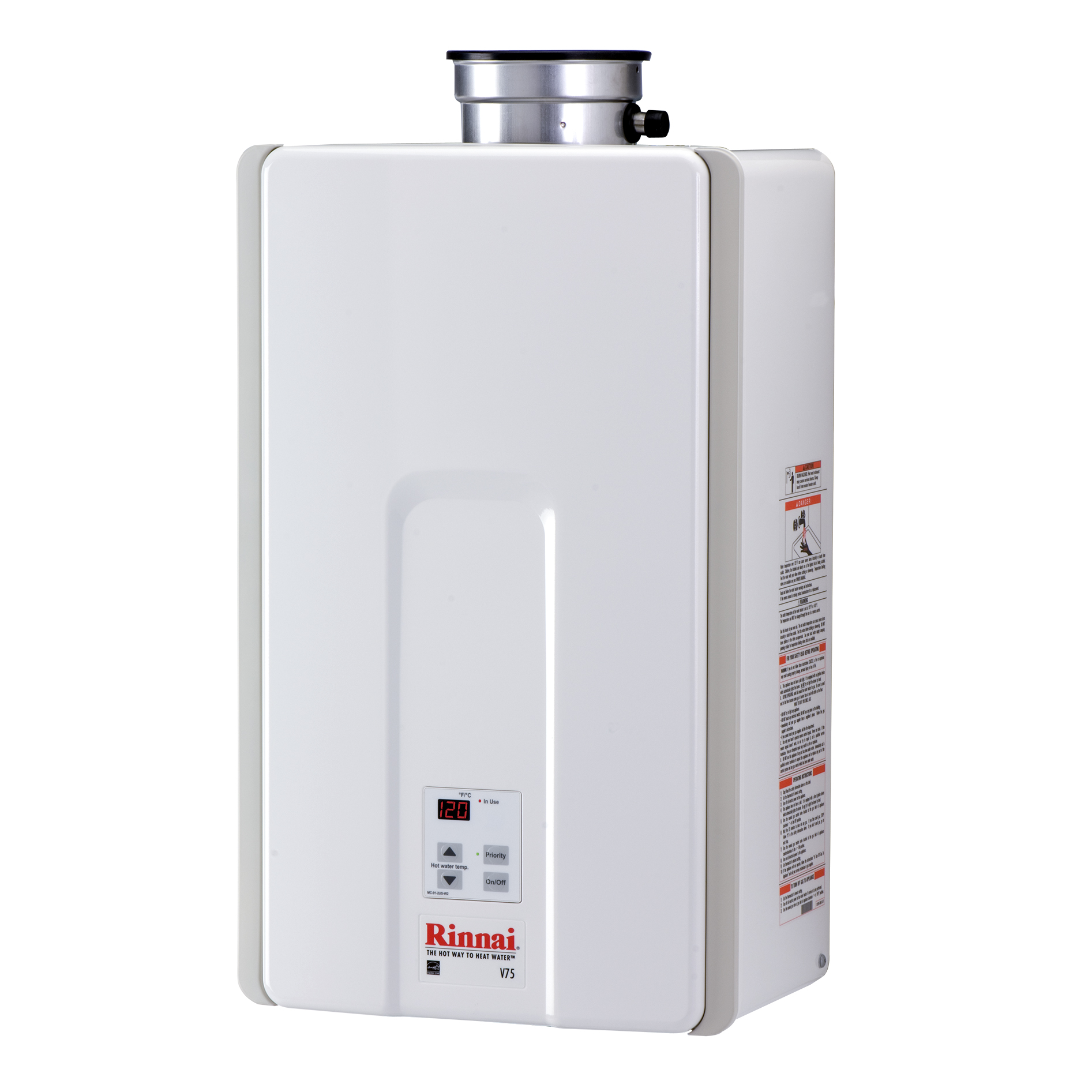 Rinnai V75i High Efficiency Non-Condensing, 7.5 GPM Tankless Hot Water Heater for Indoor Installation