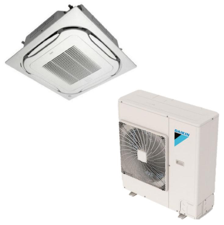 Daikin FCQ18TAVJU / RZQ18TAVJU 18000 BTU Class SkyAir Commercial Roundflow Ceiling Cassette Heat Pump 18.6 SEER Single Zone System