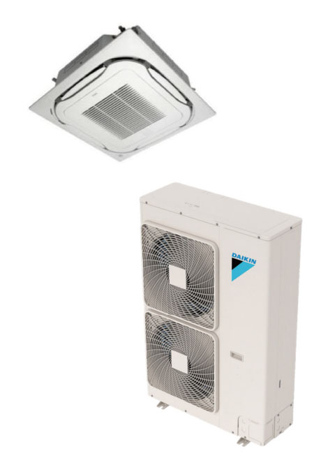 Daikin FCQ42TAVJU / RZQ42TAVJU 42000 BTU Class SkyAir Commercial Roundflow Ceiling Cassette Heat Pump 17.0 SEER Single Zone System