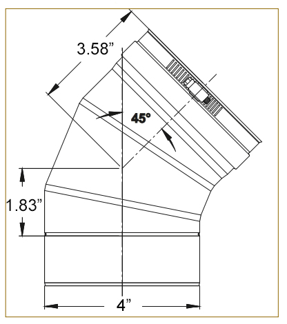 4 inch 45 degree elbow