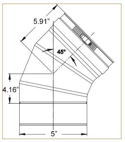 5 inch 45 degree elbow