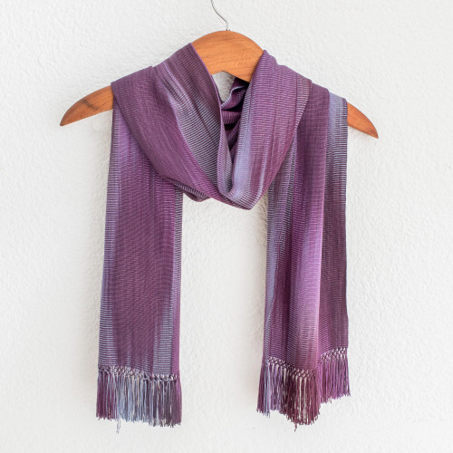 Hand Made Guatemalan Rayon Scarf in Purple Tones 'Iridescent Lavender'