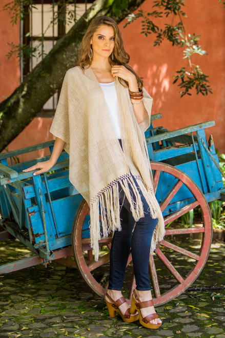 100 Natural Cotton Ruana from Guatemala 'Naturally Free in Beige'