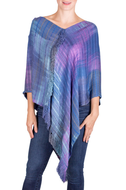 Blue and Purple Rayon Poncho from Guatemala 'Beautiful Horizon'