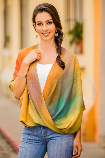 Asymmetrical Hand Woven Rayon Poncho from Guatemala 'Autumnal Charm'