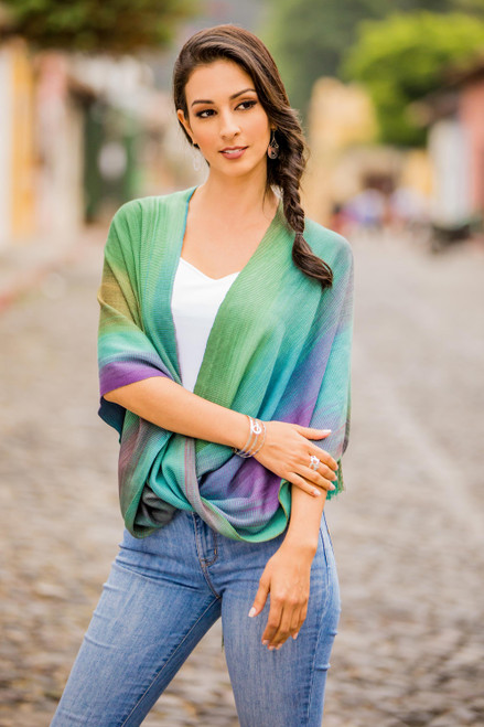 Asymmetric Hand Woven Rayon Poncho from Guatemala 'Nature's Charm'