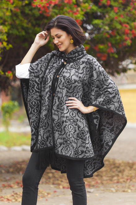 Alpaca Blend Grey and Black Ruana with Scarf 'Peruvian Wildflower in Grey'