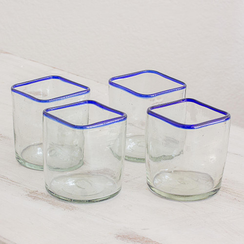 Blue-Rimmed Clear Recycled Glass Juice Glasses Set of 4 'Lakeside'