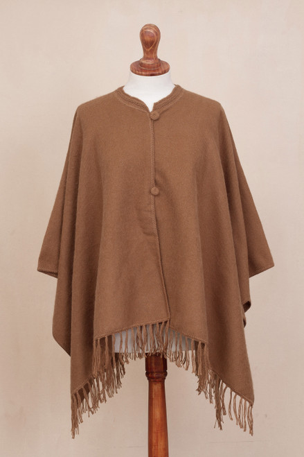 Alpaca Blend Cape in Solid Ginger from Peru 'Ginger Warmth'
