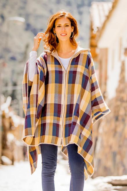Check Pattern Alpaca Blend Poncho Sweater from Peru 'Cuzco Morning'