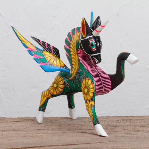 Handcrafted Wood Alebrije Pegasus Sculpture from Peru 'Proud Pegasus'