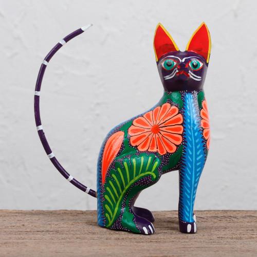 Handcrafted Copal Wood Alebrije Cat Figurine from Mexico 'Graceful Feline'