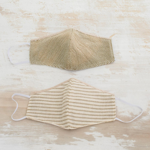 2 Natural Undyed Brown and Ivory Cotton 2-Layer Masks 'Earthen Trails'