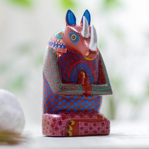 Signed Handmade Rhino Alebrije Sculpture 'Meditating Rhino'